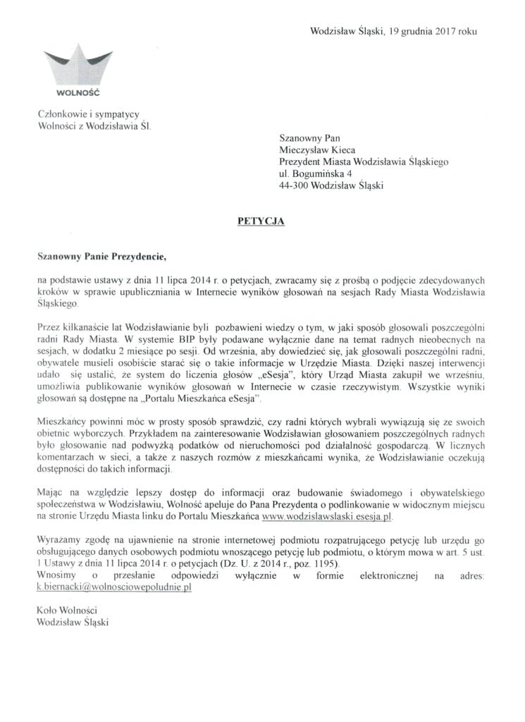 petycja do prezydenta Wodzisławia