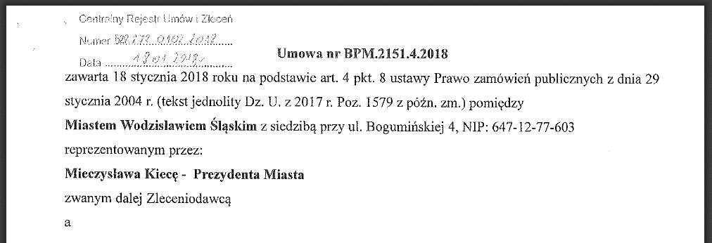 bip wodzisław śląski umowy