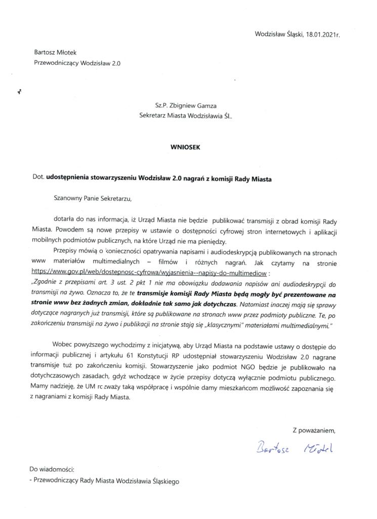 nagrania z komisji Rady Miasta wodzislaw 2.0