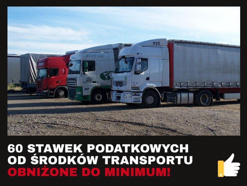 najniższe podatki od środków transportu w Polsce